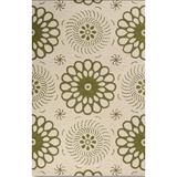 Winston Porter Ludgera Floral Hand Knotted Wool Beige/Green Area Rug Wool in Green/White, Size 18.0 H x 18.0 W x 0.5 D in   Wayfair