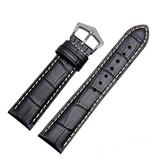 18mm19mm 20mm 21mm Black/Brown Leather Watch Band Strap Buckle for Patek Philippe Watch (20mm, Black(White line)(Silver Buckle))