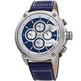 Joshua & Sons Men's Chronograph Sports Watch – Genuine Blue Leather Strap, Contrast Stitch, Multifunction 60 and 30 Second Register – JX133BU