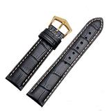 18mm19mm 20mm 21mm Black/Brown Leather Watch Band Strap Buckle for Patek Philippe Watch (18mm, Black(White line)(Gold Buckle))