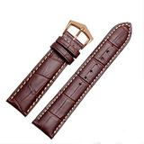 18mm19mm 20mm 21mm Black/Brown Leather Watch Band Strap Buckle for Patek Philippe Watch (18mm, Brown(White line)(Rose Gold Buckle))