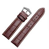 18mm19mm 20mm 21mm Black/Brown Leather Watch Band Strap Buckle for Patek Philippe Watch (18mm, Brown(White line)(Silver Buckle))