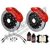 """WILWOOD FRONT BIG BRAKE KIT WITH FREE BRAKE LINES & BRAKE FLUID - WILWOOD TX6R 15.5"""" FRONT BRAKE KIT WITH RED CALIPERS AND SLOTTED ROTORS, FITS 2017 2018 FORD F150 RAPTOR"""