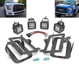 Dasen Compatible with 2015 2016 2017 Ford F150 Front Bumper Dual 4 Pcs 3 Inch 18W LED Fog Driving Lights to Off-road Style Plug N Play Wire & Foglamp Replacement Cube Light Mount Brackets Kit