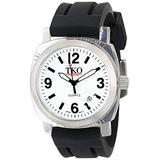 TKO ORLOGI Unisex TK508-WB Milano Plastic Case and Black Rubber Strap Watch