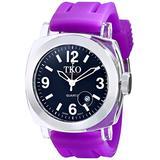 TKO ORLOGI Women's TK508-BPR Milano Plastic Case and Purple Rubber Strap Watch