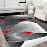 HR Red/White/Black -Faded/Distressed Area Rug 5x7 Swirls Sync Pattern Area Rug 5x7 Abstract, 5' X 7'