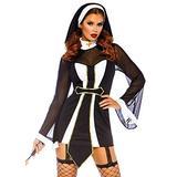 Leg Avenue Women's Twisted Sister Sexy Nun Costume, Black/White, Medium/Large