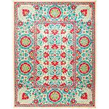 """Solo Rugs Suzani Carnivale One of a Kind Hand Knotted Area Rug, Red, 9' 1"""" x 11' 10"""""""