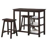 Major-Q 3Pc Pack Farmhouse Wood Frame Space Saving Design Walnut Finish Counter Height Dining Set with 1 Rectangular 3-Shelf Table and 2 Saddle Style Bar Stools Included