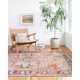 """Loloi II Nour Collection Distressed Persian Area Rug, 6'-5"""" X 8'-8"""", Lava/Navy"""