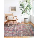 """Loloi II Nour Collection Distressed Persian Area Rug, 6'-5"""" X 8'-8"""", Red/Navy"""