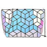 Hotone Geometric laser purse PU leather chain crossbody purse clutch purses for women