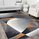HR Orange/White/Black -Faded/Distressed Area Rug 5x7 Swirls Sync Pattern Area Rug 5x7 Abstract, 5' X 7'