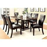 BOWERY HILL Faux Marble Dining Table in Dark Cherry