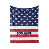 """Personalized American Flag Themed Fleece Throw Blanket - USA Patriotic Red White and Blue Plush Bedding Americana Decor - Custom Large Blankets for Baby Girls Boys Man Woman (Adult 60""""x80"""")"""