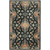 Bungalow Rose Eskew Oriental Black/Gray/Orange Area Rug Polyester in Black/Brown/Gray, Size 120.0 H x 96.0 W x 0.31 D in | Wayfair