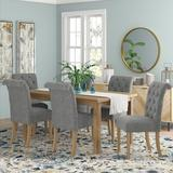Mistana™ Rumi 7 - Piece Rubberwood Solid Wood Dining SetWood/Upholstered Chairs in Brown/White, Size 30.0 H x 38.0 W x 65.0 D in   Wayfair