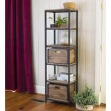 Plow & Hearth Deep Creek Etagere Bookcase in Black/Brown/Gray, Size 68.25 H x 20.0 W x 14.0 D in | Wayfair 59H44