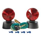 CURT 53200 Magnetic Trailer Lights for Dinghy Towing, 4-Pin Flat Plug, Stop Tail Turn