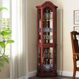 Astoria Grand Clayborne Floor Standing 5 Sided Lighted Corner Curio Cabinet Wood in Brown, Size 70.125 H x 21.25 W x 15.5 D in | Wayfair