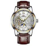 WhatsWatch AILANG Famous Brand Watch 2018 New Luxury Men Automatic Mechanical Watches Rose Gold Case Blue Dial Leather Strap Moon Phase -533