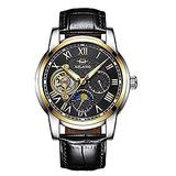 AILANG Famous Brand Watch 2018 New Luxury Men Automatic Mechanical Watches Rose Gold Case Blue Dial Leather Strap Moon Phase -529