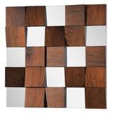 "Ren Wil MT1007 Westside 36"" x 36"" Square Flat Wall Mounted Decorative Mirror Walnut"