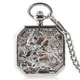 Pocket Watches Fighting Tigers Pocket Watch, Mechanical Pocket Watch Hand Winding Fob Chain Luxury Watches for Men Women Charm Silver Gifts