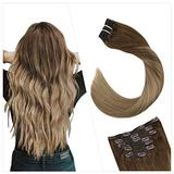 Ugeat Remy Hair Extensions Clip in Human Hair 16 Inch Clip in Remy Human Hair Extensions 7PCS Clip in Balayage Hair Extensions Human Hair Brown #8 Ombre to Blonde #16 Clip in Extensions