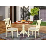 East West Furniture DLPL3-BMK-C 3-Piece dinette set Buttermilk & Cherry finish- Two 9-inch Drops Leave and Pedestal Legs dinner table & 2 Slatted Back dining chairs