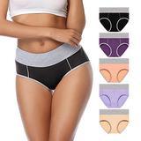 OPIBOO Women's Cotton Underwear,Soft Underwear Women Briefs,Ladies Comfort Breathable Underwear Briefs Panties (Multicolored-1, x_l)
