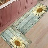 Shine-Home 2 Piece Non-Slip Kitchen Mat Rubber Backing Doormat Runner Rug Set, Kids Area Rug Bedroom Rug Sunflower Painted on Rustic Old Wood Barn 15.7'' x 23.6'' +15.7'' x47.2''
