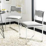 Safavieh Home Menken Grey Velvet and Chrome Side Chair, Set of 2