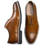 GIFENNSE Men's Casual Shoes Oxford Shoes Mens Dress Shoes,Black Shoes,Brown Shoes(9US/Brown
