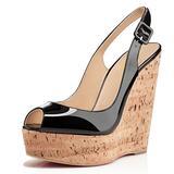XYD Women Peep Toe Wedge Sandals Platorm Cork High Heel Slingback Slip On Dress Shoes 6 Black