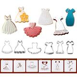 Dress Cookie Cutters with Matching Cookie Stencils - Set of 12-6Pcs Cookie Cutter and 6Pcs Cookie Stencils, Include Braces Skirt, Wedding, Black Dress, Little Girl, Tutu and Princess Dress