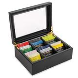 Wooden Tea Chest With Bigelow Tea Included - Modern Black Wooden Tea Box Organizer with 36 Bigelow Tea Bags, 6 Different Flavors of Bigelow Herbal Tea and 6 Classic Bigelow Teabags, 3 of Each Flavor