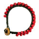 'Crimson Mantra' - Handmade Guatemalan Leather Bracelet with Re