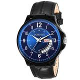 Golden Bell (Label) Men's Phoenix Day and Date Calender Function Chronograph Dial Black Strap Watch