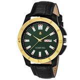 Golden Bell (Label) Men's Highborn Day and Date Calender Function Chronograph Dial Black Strap Watch