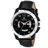 Golden Bell (Label) Men's Bollard Day and Date Calender Function Chronograph Dial Black Strap Watch