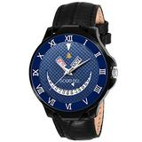 Golden Bell (Label) Men's Lucifer Day and Date Calender Function Chronograph Dial Black Strap Watch