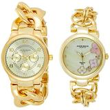 Akribos XXIV Women's 2 Yellow Gold Watch Set - 1 Multifunction 3 Subdials Watch and 1 Classy Diamond Hour Markers Watch on Mother-of-Pearl Dial on Chain Link Bracelet - AK677