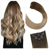 Ugeat Clip in Hair Extensions Human Hair 18 Inch Balayage Brown Human Hair Clip in Extensions #4/16/18 Remy Clip in Hair Extensions Human Hair 7PCS Hair Extensions Clip in