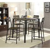 Union Rustic Brockman Wooden 5 Piece Pub Table SetWood/Metal in Black/Brown, Size 36.0 H x 38.0 W x 38.0 D in | Wayfair
