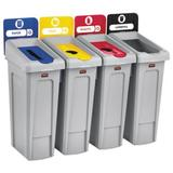 Rubbermaid 92 Gallon Slim Jim 4-Stream Recycling Station Kit (Rcp2007919)