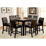 Red Barrel Studio® Hufnagel Counter Height Dining TableWood in Black/Brown, Size 36.0 H x 53.75 W x 53.75 D in | Wayfair