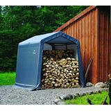ShelterLogic 8' x 8' x 8' Shed-in-a-Box All Season Steel Metal Peak Roof Outdoor Storage Shed with Waterproof Cover and Heavy Duty Reusable Auger Anchors