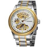 Luxury Skeleton Mechanical Watch Men's Stainless Steel Two Tone Bracelet Watch Waterproof Male Watch (Gold White)